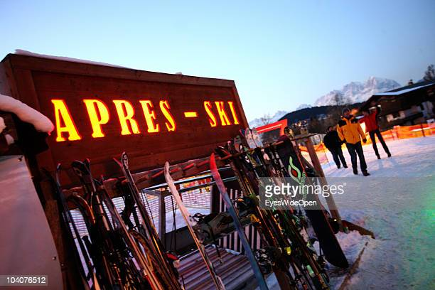 A pub for Apres Ski on the slope on January 21 2009 in Kitzbuehel Austria