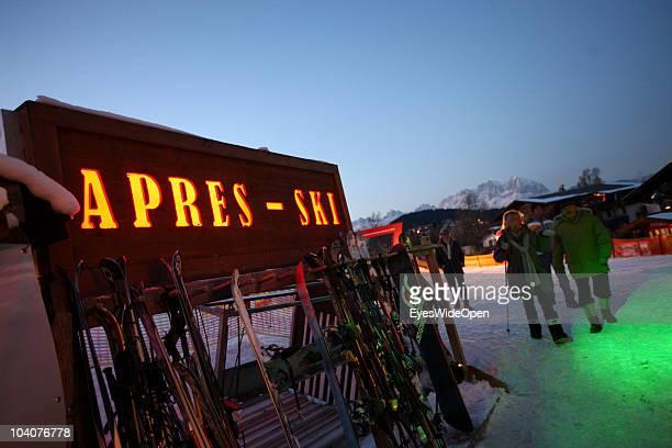 A pub for ApresSki on the slope on January 21 2009 in Kitzbuehel Austria