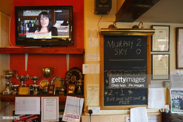 Pub landlady Karen Murphy giving an interview on the television in her pub The Red White and Blue in Portsmouth after defeating the Premier League in...