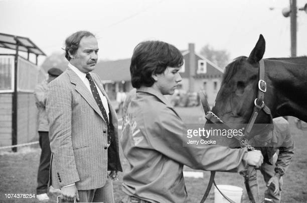 SI Writer Bill Nack with trainer and horse at Churchill Downs Louisville KY CREDIT Jerry Cooke