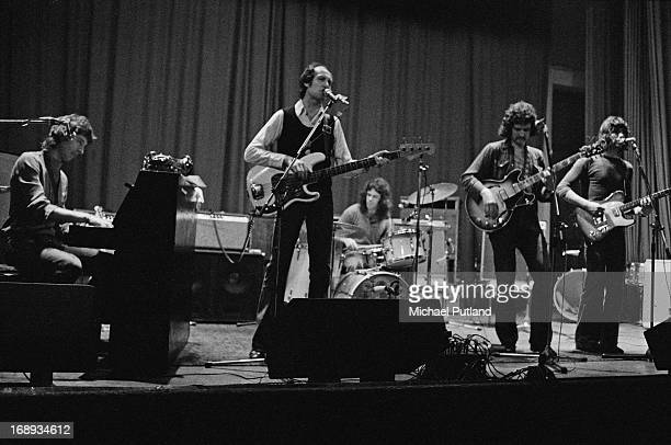 Pub rock group Bees Make Honey performing on stage 4th May 1973 Left to right Ruan O'Lochlainn Barry Richardson Bob Siebenberg Mick Molloy and Deke...