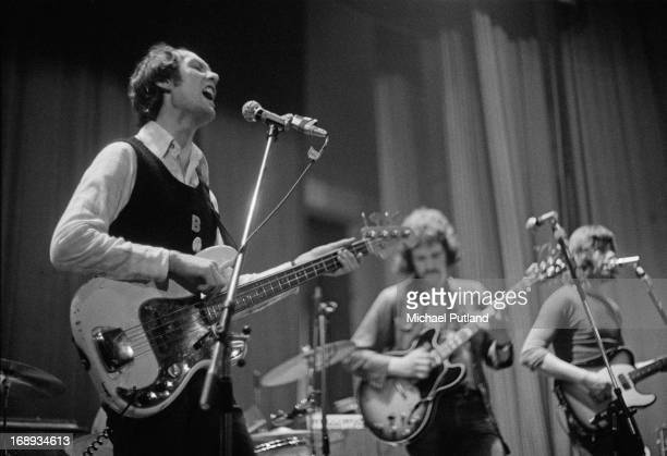 Pub rock group Bees Make Honey performing on stage 4th May 1973 Left to right Barry Richardson Mick Molloy and Deke O'Brien