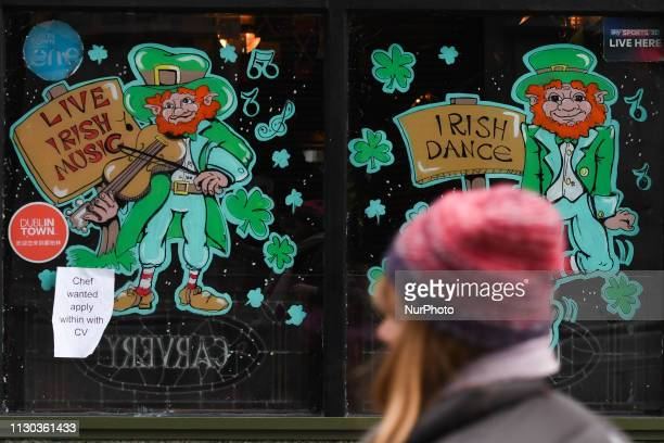 A pub window in Dublin's city center displays St Patrick's Day decorations On Wednesday March 13 in Dublin Ireland