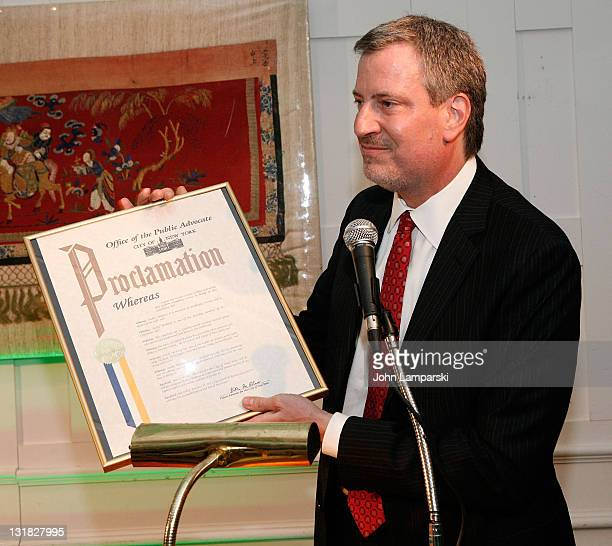 Public Advocate Bill de Blasio attends the Gold Medal of Honor for Lifetime Achievement in Music at The National Arts Club on January 27 2011 in New...