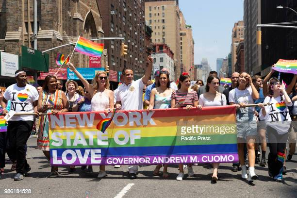 Public Advocate Letitia James Sandra Lee Governor Andrew Cuomo attend 49th annual New York pride parade along 7th avenue