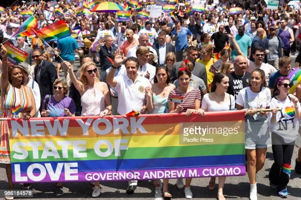 Public Advocate Letitia James, Sandra Lee, Governor Andrew Cuomo attend 49th annual New York pride parade along 7th avenue.