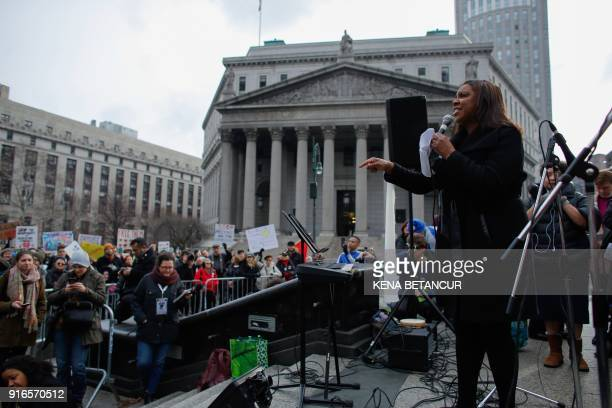 Public Advocate Letitia James speaks during a rally with Immigrant rights activist Ravi Ragbir a day after he granted temporary stay of deportation...