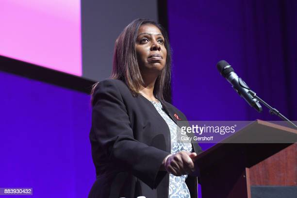 Public Advocate Letitia James speaks on stage at World AIDS Day 2017 at Kings Theatre on December 1, 2017 in the Brooklyn borough of New York City,...