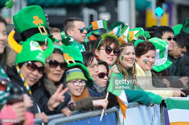 Public at St Patrick's Day 2016 parade Dublin Ireland on Thursday 17 March 2016