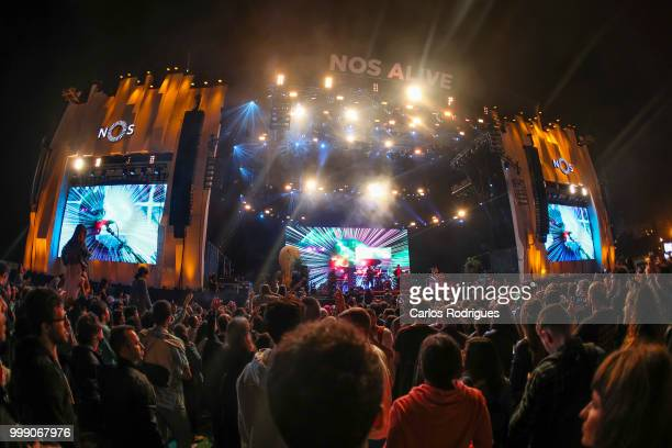 Public attends MGMT concert during Day 3 of NOS Alive Festival 2018 on July 13 2018 in Lisbon Portugal