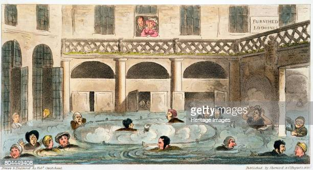 Public Bathing at Bath or Stewing Alive' 1825 Bathers taking the waters or 'stewing' in the Roman baths at Bath in Somerset wearing clothes and even...