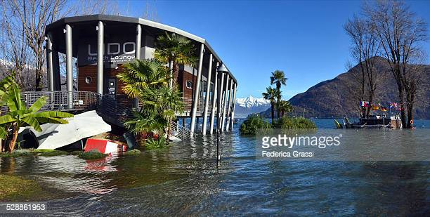 public beach flooded by weeks of rain - piedmont italy stock pictures, royalty-free photos & images