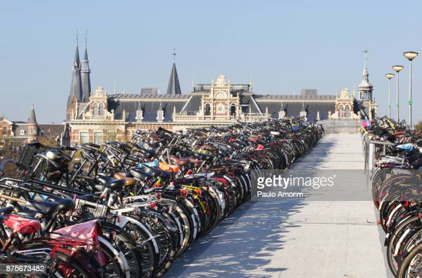 Public bicycle parking  in Amsterdam,Netherlands