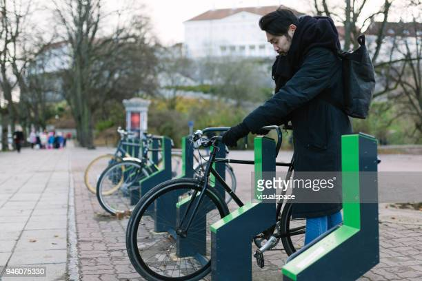 public bicycle parking station in tallinn - bicycle parking station stock photos and pictures