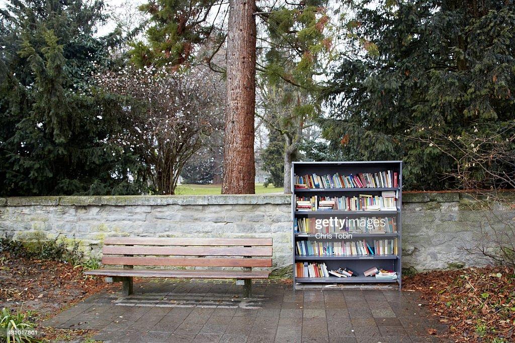 Public Bookshelf Outside Stock Photo