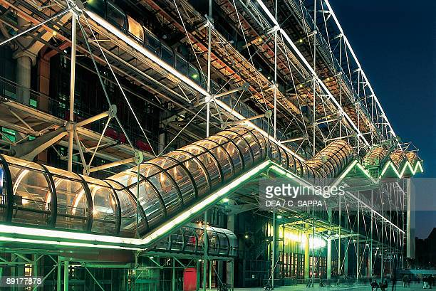 Public building lit up at night, Pompidou Center, Paris, France