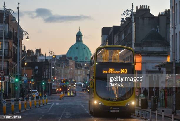 Public bus 140 with 'Wear A Face Cover' written on the front, seen in Dublin city center. The Department of Health reported today a new daily record...