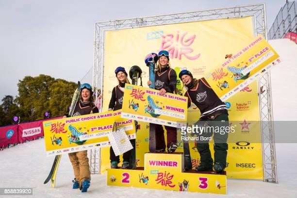 Public Choice Award winner Sarah Hoefflin Best Trick Women Ski 2nd place Giulia Tanno 1st place Tess Ledeux and 3rd place Coline Ballet Baz pose on...