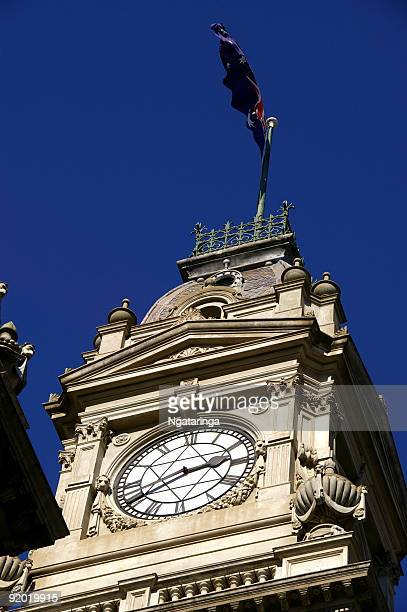 Public clock in townhall tower