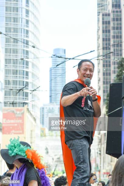 Public Defender and film maker Jeff Adachi rides on a float during San Francisco Gay Pride parade on June 25 2017 in San Francisco California