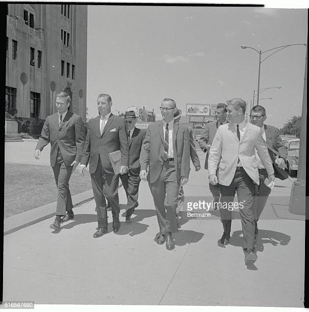 Public Defender Gerald Getty , attorney for accused mass slayer Richard Speck, walks with Assistant State's Attorney William Martin who will...