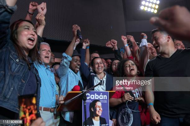 Public defender Tiffany Caban declares victory in the Queens District Attorney Democratic Primary election at her campaign watch party at La Boom...