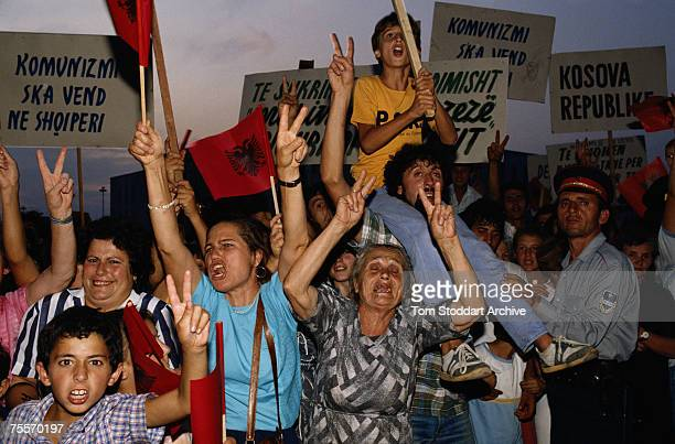 A public demonstration in Albania 1991