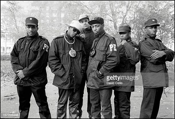 Public Enemy pose for group portraits in Hyde Park London 2nd November 1987 Flavor Flav and Chuck D are second and fourth from left