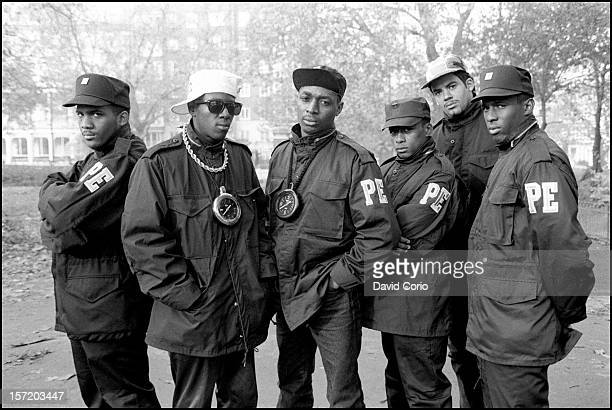 Public Enemy pose for group portraits in Hyde Park London 2nd November 1987 Flavor Flav and Chuck D are second and third from left