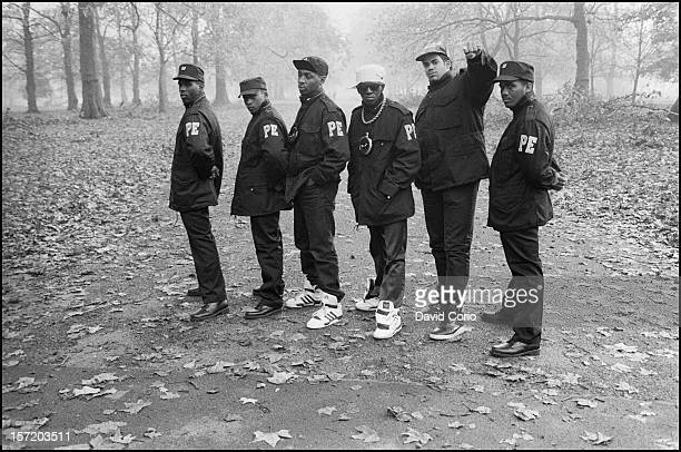 Public Enemy pose for group portraits in Hyde Park London 2nd November 1987 Chuck D and Flavor Flav are third and fourth from left