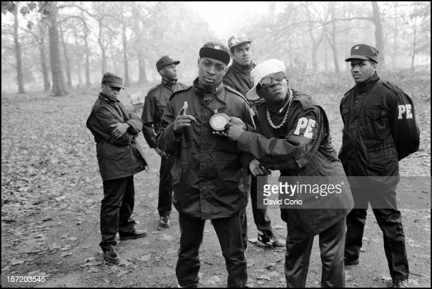 Public Enemy pose for group portraits in Hyde Park London 2nd November 1987 Chuck D and Flavor Flav are at the front