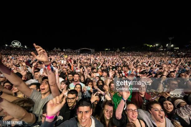 Public enjoys with the David Guetta show during the last day of O Son do Camino Festival on June 16, 2019 in Santiago de Compostela, Spain.