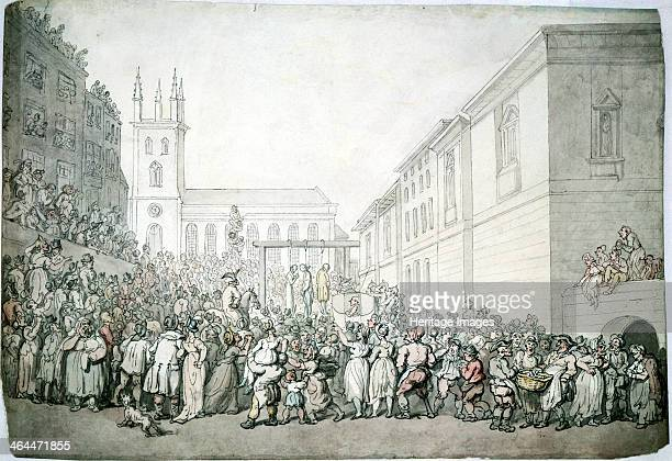 A public execution at Newgate London late 18th century In the centre of the picture three people have been hanged The picture is crammed full of...