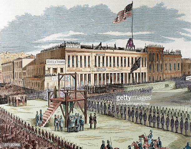 Public execution of murderers Joseph Hetherington and Philander Brace 29 July 1856 convicted by a committee of San Francisco to die on the gallows...