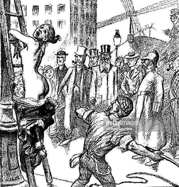 Public flogging of a young woman in manassa america because of a relationship with a clergyman caricature by adolf willette on modern american...
