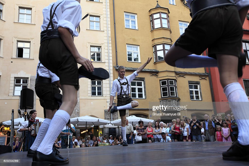 Public folk dance show in Old Town : Stock Photo