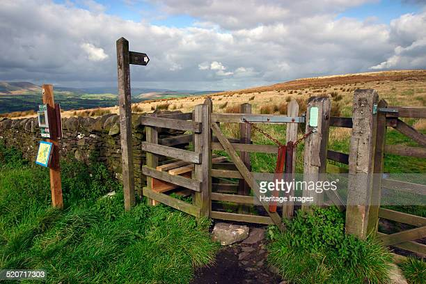 Public footpath sign and kissing gate Longridge Fell Lancashire