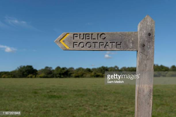 A public footpath sign highlighting public right of way for walkers and ramblers on the 8th September in Petworth in the United Kingdom
