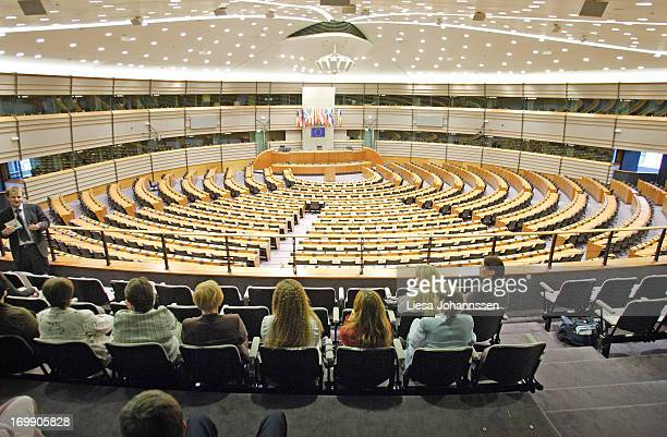 Public gallery at the Plenar hall of the European Parliament May 16 Brussels Belgium