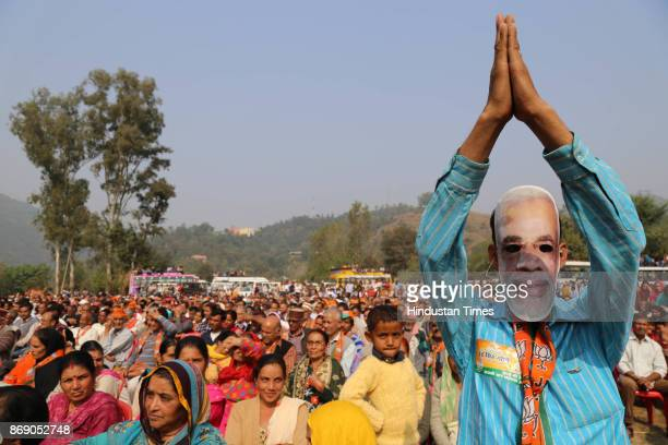 Public gathering at Behna village in Balh segment of Mandi district during home minister Raj Nath Singh election campaign rally for BJP candidate...