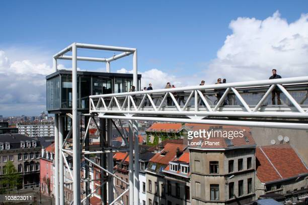 Public glass elevator from Place Poelaert down into the Marolles.