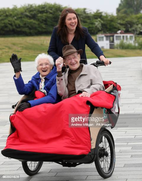 Public Health and Sport Minister Aileen Campbell pedals with Mary Duncan and Jim Taylor at the Kelpies in Falkirk where she announced Scottish...