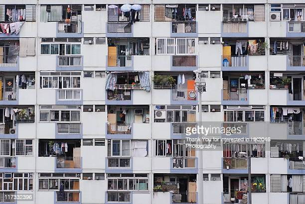 public housing estates in hong kong - council flat stock pictures, royalty-free photos & images
