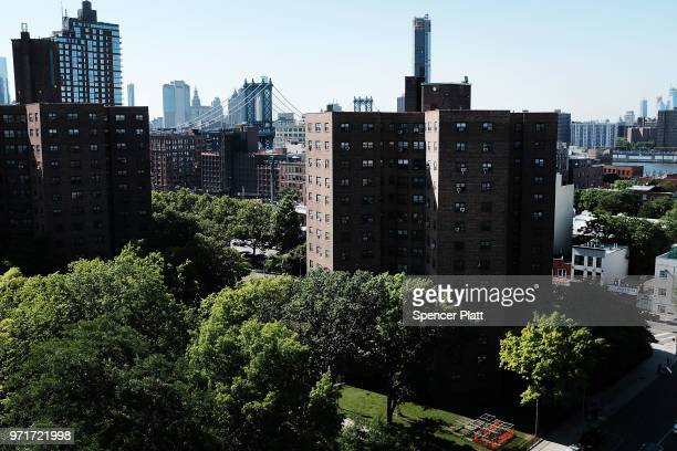 Public housing stands in Brooklyn on June 11 2018 in New York City In an announcement today made public by Manhattan US Attorney Geoffrey Berman New...