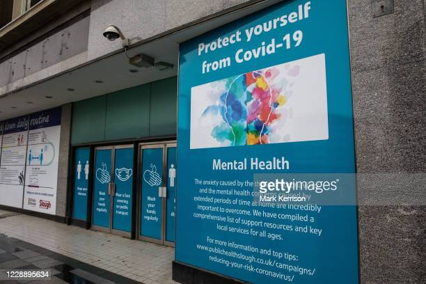 Public information display offering support to counter the mental health aspects of COVID-19 and the preventative lockdown is pictured on 4 October...