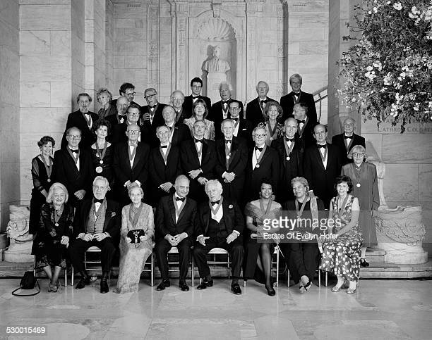 NY Public Library's Literary Lions at the Libr Centennial 1996 Seated Betty Friedan Anthony Hecht Ruth Prawer Jhabvala Ved Mehta Norman Mailer Rita...