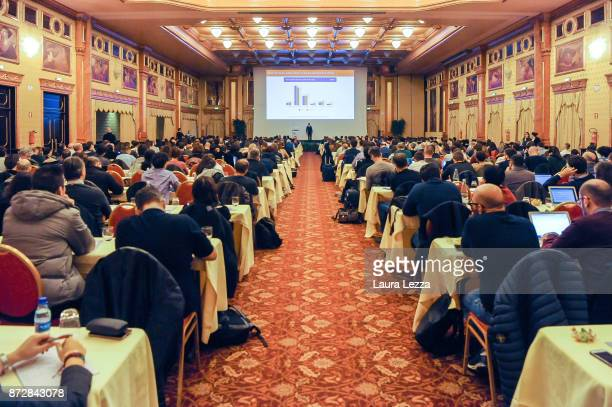 Public listen to the Italian digital entrepreneur founder of Aranzullait web site and spreader of IT concepts Salvatore Aranzulla while holding his...