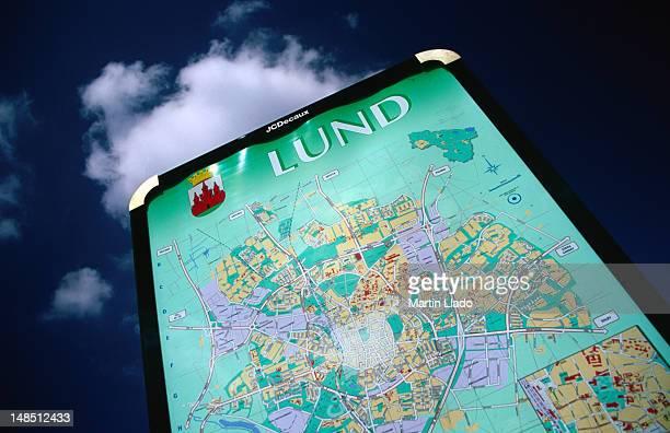 Public map of Lund near train station.