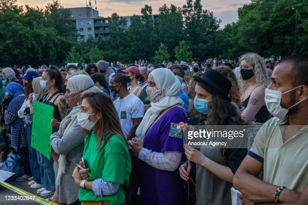 Public march in their honour of a muslim family that was killed, in London, Ontario, Canada, on Friday, June 11, 2021. Three generations of the...
