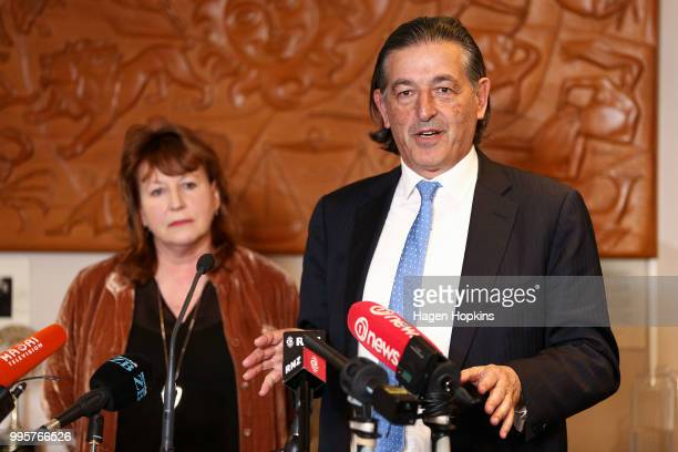 Public Media Advisory Group Chair Michael Stiassny speaks while Broadcasting Communications and Digital Media Minister Clare Curran looks on during a...